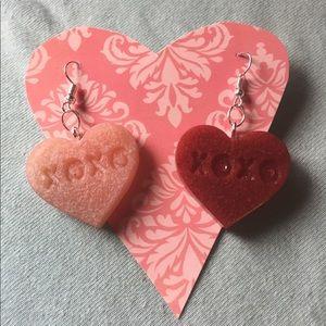 Xoxo candy heart earrings - Brand New